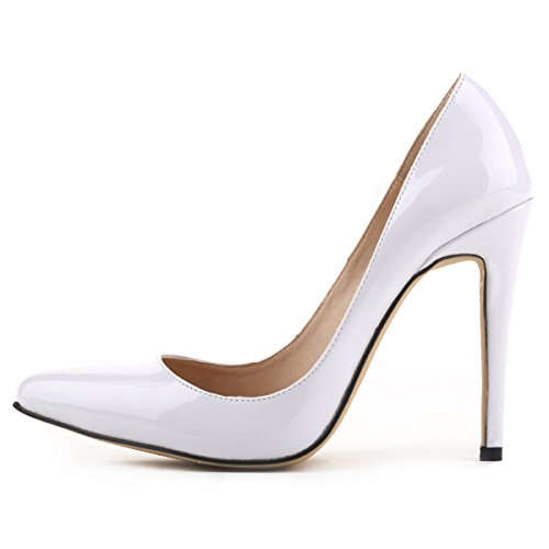 Loslandifen Womens Shoes Closed Toe High Heels Womens Pointed Slender Leather Pumps (40 M EU9 B(M)US white)