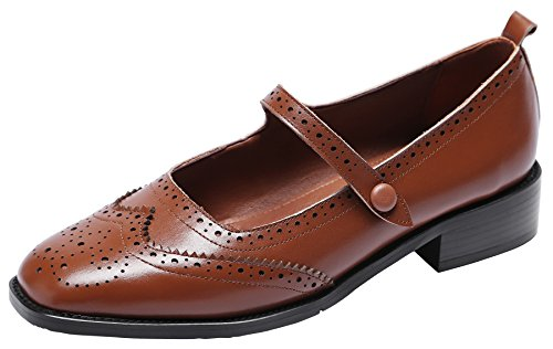 - U-lite Women's Perforated Wingtip Brogues Leather Flat Oxfords Mary Jane Flats Oxford Shoes Brown 9