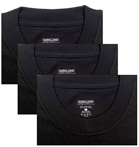 Kirkland Signature Men/'s Crew 100/% Cotton Tagless Neck Tee 3, XX-Large 3PC 3-Pack Black, XX-Large