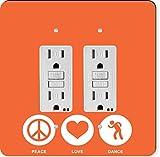 Rikki Knight 42451 Gfidouble Peace Love Dance Orange Color Design Light Switch Plate