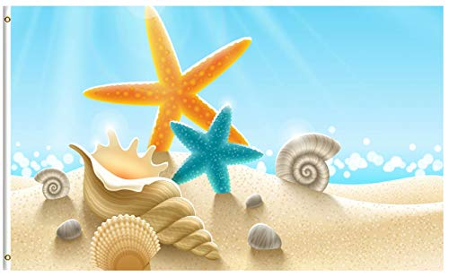 ShineSnow Summer Beach Underwater Starfish Seashell 5x8 Feet Flag, Polyester Shell Scallop Snail Sand Sunight Double Stitched with Brass Grommets 5 X 8 Ft Flag for Outdoor Indoor Decor ()