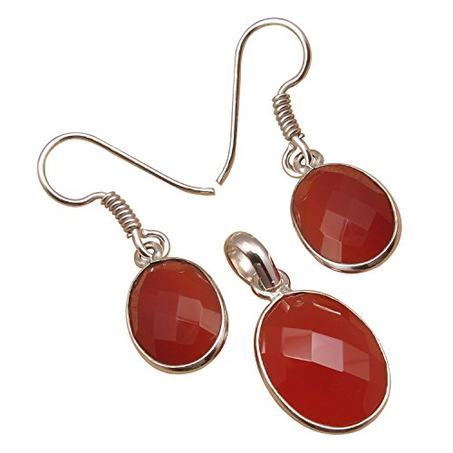 Matching SET, Earrings & Pendant ! 925 Sterling Silver Plated OVAL Gemstone Highly Polished ()