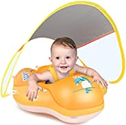 LAYCOL Baby Swimming Float Inflatable Baby Pool Float Ring Newest with Sun Protection Canopy,add Tail no flip