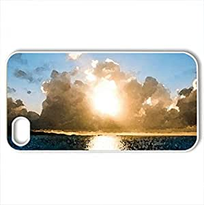 Sunset Beach - Case Cover for iPhone 4 and 4s (Sunsets Series, Watercolor style, White)