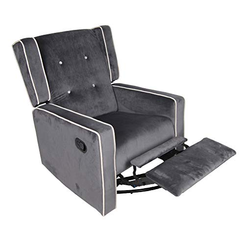 Polar Aurora Swivel Gliding Rocker Recliner Suede Tufted Upholstered Glider for Nursery, Study and Living Room/Microfiber 6 Color (Dark Gray)