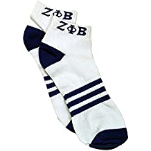 Zeta Phi Beta G2118 Ankle Socks - White w/ Blue Sorority Divine Nine Greek