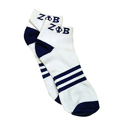 Zeta Phi Beta G2118 Ankle Socks - White w/ Blue Sorority Divine Nine Greek (Puma Socks Women Cushion)