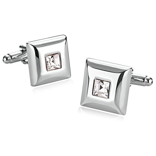 r Men Suitable for Wedding Anniversary Stainless Steel Square Zirconia Cuff Links Silver ()