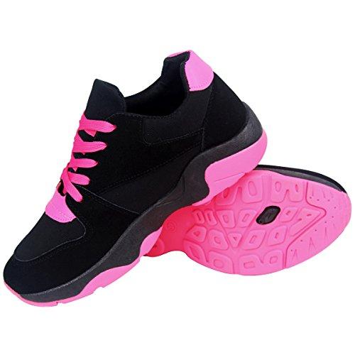 Wealsex Zapatillas De Deporte Mujer Zapatos Planos Casuales Aumentar Los Zapatos De Placa Para Correr EN Montaña Asfalto Aire Libre Deportes Zapatillas de Running Rosa