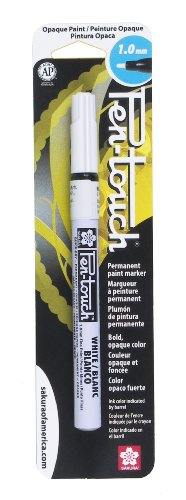 Sakura 42380 Blister Card Pentouch Metallic Ink Marker, Fine, White