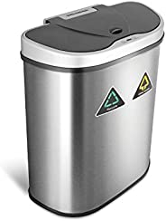 NINESTARS DZT-70-11R Stainless Steel Motion Sensor Recycle Trash Can Gallons, 70 Ltrs/18.5 Gallons, Silver/Bla