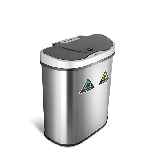NINESTARS DZT-70-11R Automatic Touchless Infrared Motion Sensor Trash Can/Recycler, 18 Gal 70L, Stainless Steel Base (D Shape, Silver/Black Lid) (Battery Print Cart)