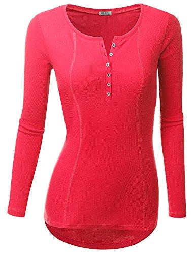 Doublju Womens Basic Casual Long Sleeve Thermal Henley T-Shirt