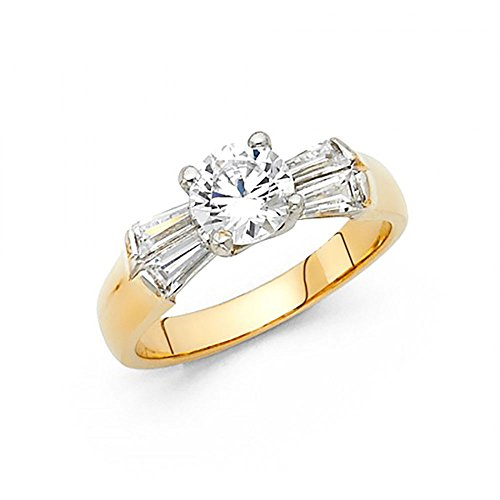 14k Yellow Gold CZ Channel Set Taper Baguette Engagement Ring