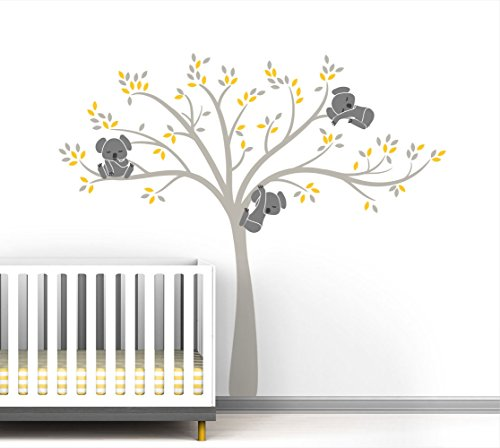 Modern Koala Cuteness Tree Wall Decal for Baby Nursery Decor - Yellow Sunshine Color Collection by LittleLion Studio