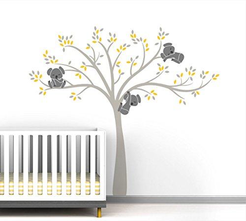 Modern Koala Cuteness Tree Wall Decal for Baby Nursery Decor - Yellow Sunshine Color Collection by LittleLion Studio