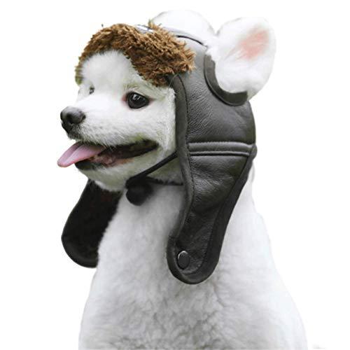 Anyshock Pet Dog Aviator Hat, Adjustable Dog Winter Hat Ear Holes Windproof Soft Warm Dog Costumes Hat Cat Dog Puppy Pet (XL, Black) -
