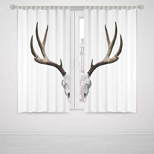 iPrint Bedroom Bed Curtains Antlers Decor A Deer Skull Skeleton Head Bone Halloween Weathered Hunter Collection Decorative High-Precision Blackout Curtain