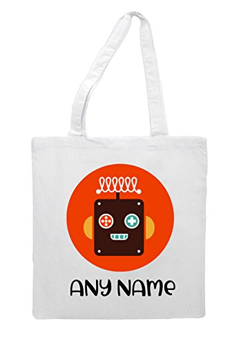 Shopper Six Avatar Bag Face Robot Personalised Tote Vintage White Character Name With 4CAqxTv