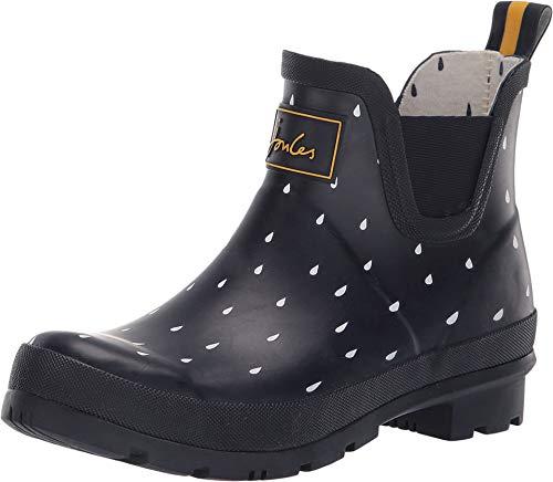 Joules Womens Wellibob Rain Boot, Navy Raindrops, Size 5