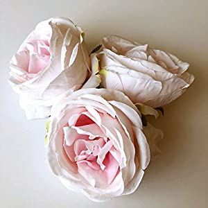 3 Pieces Blush Pink Rose Heads, Artificial Cabbage Roses, Rose head set 99