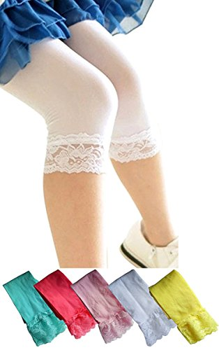 YallFairy 5pcs Girls Capris Leggings Pants with Lace Trim Tights for Girls 6-10 Thin See Through (Set A)