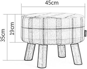 LYQQQQ Petit Tabouret en Bois Tabouret Tabouret de Maquillage Rond recouvert d'une Large Zone Couverture en Lin Amovible (45cmx35cm)