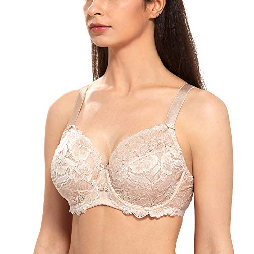 (DELIMIRA Women's Full Coverage Non-Foam Floral Lace Plus Size Underwired Bra Beige 40G )