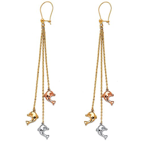 14k Tri Color Gold Three Dolphins Dangle Earrings