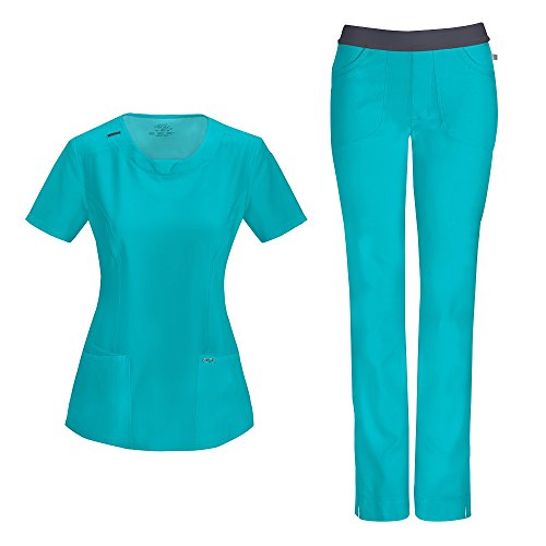 Cherokee Infinity by Women's With Certainty Round Neck Top 2624A & Low Rise Pant 1124A Scrub Set (Antimicrobial) (Teal Blue - XX-Large)