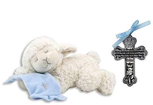 (Adorable Plush Praying Lamb with Blue Blanket - Recites