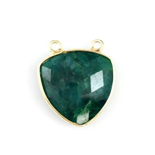 (Bezel Gemstone Connector Pendant Gold Vermeil- Large Trillion -Emerald Dyed-18mm-1 pc)