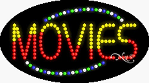 15x27x1 inches Movies Animated Flashing LED Window Sign by Light Master