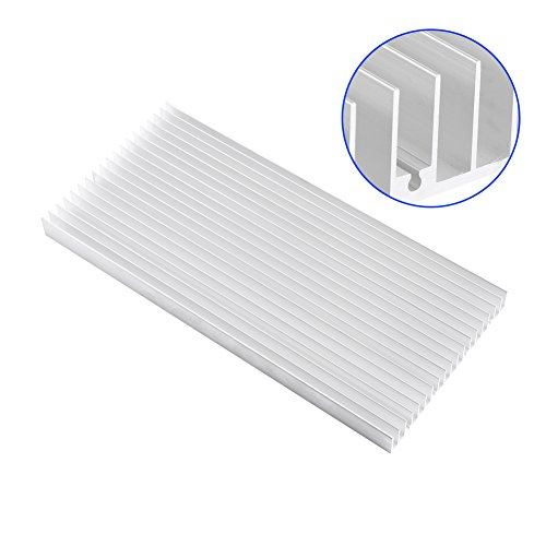 Aluminum Heat Sink Heatsink Module Cooler Fin for High Power Amplifier Transistor Semiconductor Devices with Dense 19 pcs Fins 11.8''(L) x 5.51''(W) x 0.79''(H) / 300 mm (L) x 140 mm (W) x 20 mm (H) by walfront (Image #2)