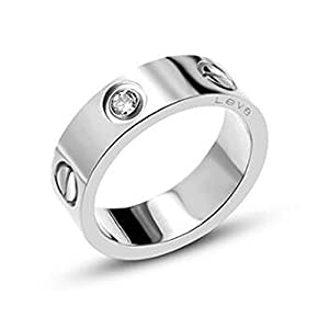 Frederic Wilkins Love Zirconia Ring - Titanium Steel Unisex Adult Fashion Lovers Silvery Ring(Size:5-10)