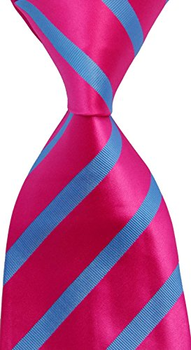 (jacob alex #38752 Classic Necktie Red&White Striped Ties WOVEN JACQUARD Silk Men's Suits)