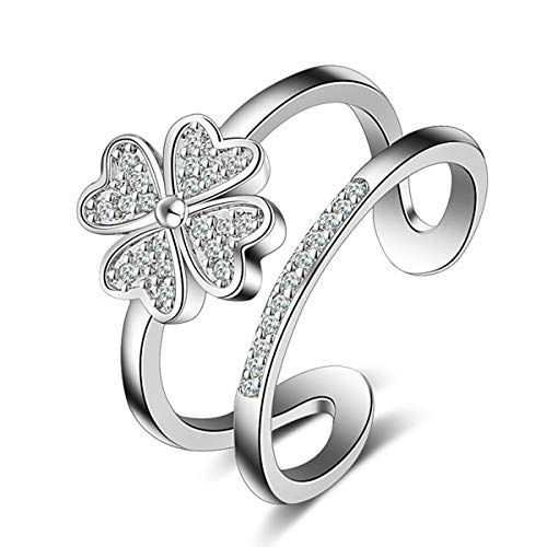 (Orris Sterling Silver Shinning Clover Crystal Mounted Adjustable Free Size Open Ring (Shinning)