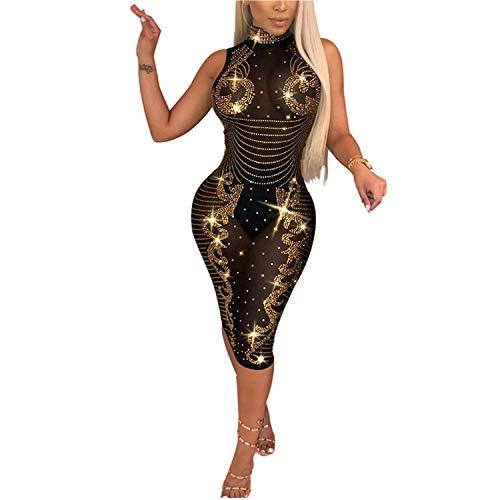 VIVOSKY Women Sequin Dress Geometric Tattoo Bandage Bodycon Club Dresses (M, Gold)