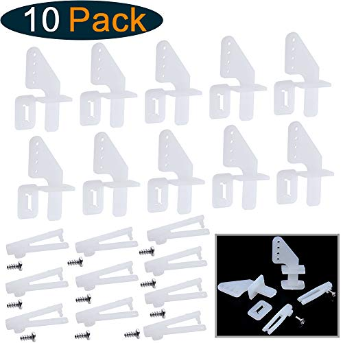 Hobbypark Nylon Micro Control Horns 20x11mm 4 Holes w/Pin & Φ1.2x21mm Clevis for RC Airplane Remote Control Foam Electric Park Flyers Parts (Set of 10)
