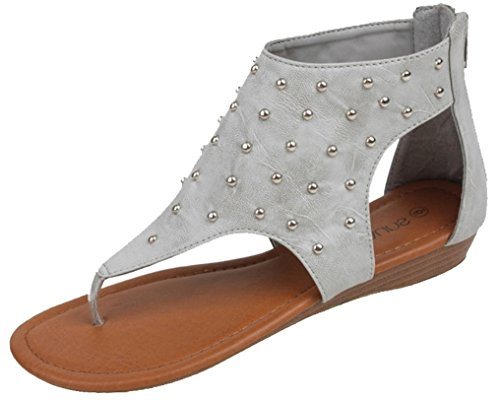 Hazel's Star Gladica Gladiator Sandal with Back Zip Closure and Moderate Heels, Gray, Size 8 (M) US Leather Comfort Sandals