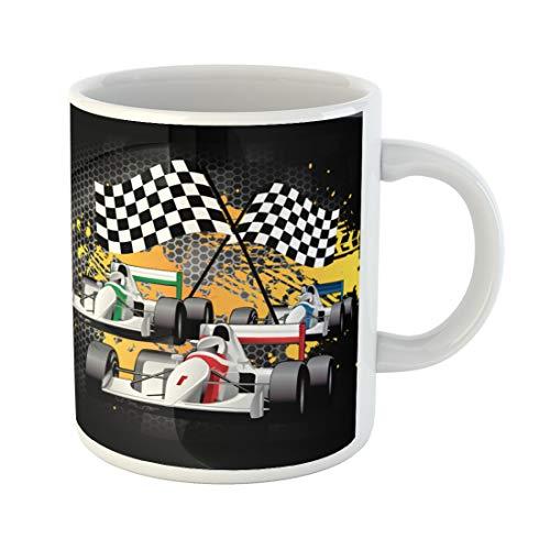 Semtomn Funny Coffee Mug Driver Car Racing Go Cart Checkered Flags Goal Graffiti 11 Oz Ceramic Coffee Mugs Tea Cup Best Gift Or -