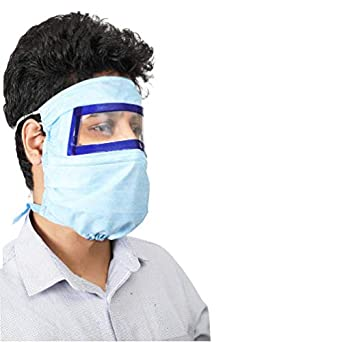 BreatheFresh JANTA MASK, 2 in 1 Combo of Face Shield + 3 PLy Mask, SITRA Tested (With 2 Hand Sanitizer Pouches)