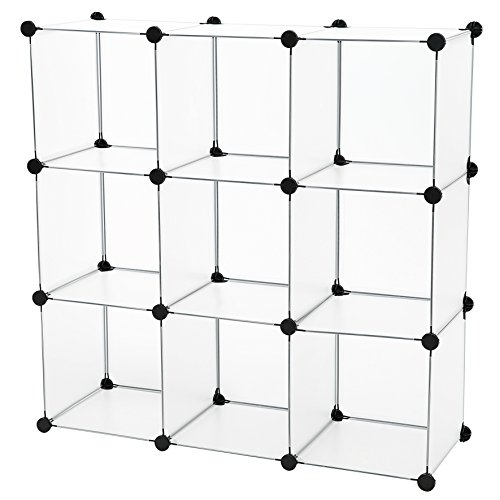 C&AHOME - 9 Cube Storage Organizer Closet Shelf DIY Bookcase Toy Rack, Translucent