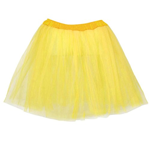 Elastic Natural Skirt Sexy Lady Stretchy Tulle Dress Adult Tutu 3 Layer Skirt (Yellow) (Adult Double Layer Chiffon Skirt)