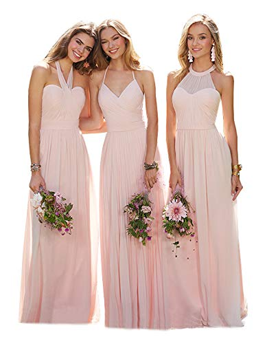 Women's A Line Blush Bridesmaid Dresses Halter Neck Ruched Chiffon Long Wedding Party Maxi Gown Size 6 Chiffon Ruched Halter Dress
