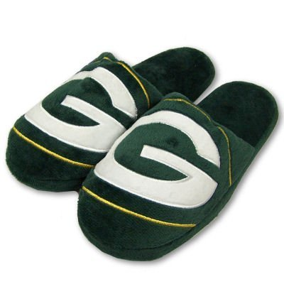 GREEN BAY PACKERS OFFICIAL LOGO PLUSH SLIPPERS SZ L by Forever Collectibles