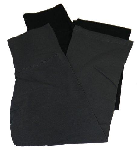 Active Basic Fold Over Flared Lounge Pant,Large,2 Pack: Black & Charcoal