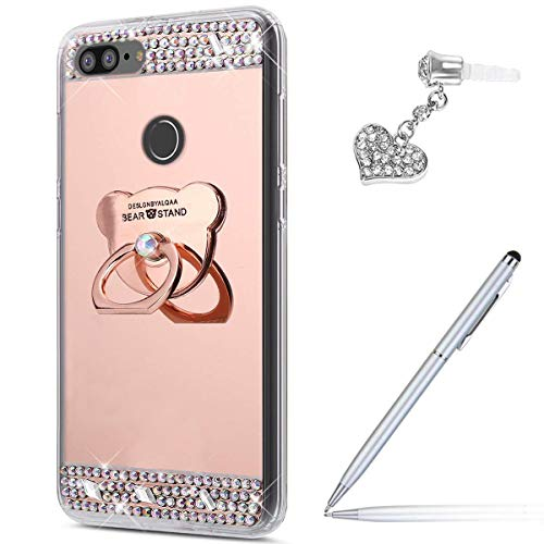 (Case for Huawei P Smart 2019 Mirror Case,Inlaid diamond Flowers Slim Rhinestone Diamond Glitter Bling Mirror TPU Case with Bear Ring Stand +Touch Pen Dust Plug for Huawei P Smart)