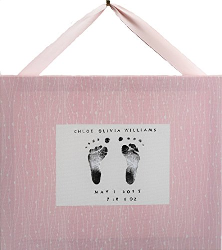Baby Hand and Foot print Kit and Decorative Canvas - The Perfect Baby Shower Gift for new Parents and for the Nursery (Pink with Vines)