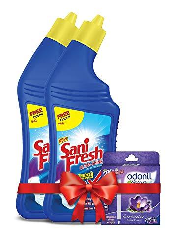Sanifresh Ultrashine 1L ( 500 + 500) Toilet Cleaner -1.5X Extra Strong Extra Clean with Odonil Room Freshner Blocks 50 g…
